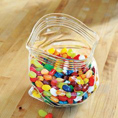 Plastic bag glass candy jar
