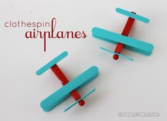 Clothespin Airplanes {Party Favors} - - SO CUTE! What a great birthday party project! Airplane Party Favors, Airplane Crafts, Planes Party, Vintage Airplane Party, Planes Birthday, Airplane Toys, 2nd Birthday, Birthday Ideas, Kids Crafts