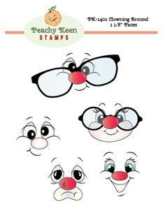 Peachy Keen Stamps Clear Face Assortment 5 Pack - Clowning Around Clay Pot Crafts, Rock Crafts, Paper Crafts, Cute Faces, Funny Faces, Peachy Keen Stamps, Cartoon Eyes, Cartoon Drawings, Clay Stamps