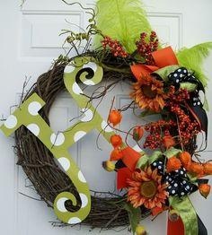 Fall Holiday Monogram Wreath: I really need to do something like this. I like the initial idea.