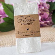 Banderole für Freudentränen Taschentuch im Vintage-Stil für Eure rustikale Hochzeit  #Woodland #Wedding