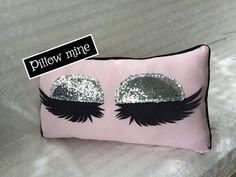Pink Eyelash pillow with silver eyelids Vanity decor Eyelashes