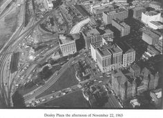 11/22/63: Aerial photo of Dealey Plaza, after the assassination earlier in the day.