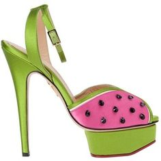 Charlotte Olympia 'Mouth-watering' Watermelon Sandals ♥༺❤༻♥