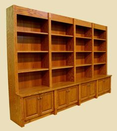 Custom bookshelves with cabinets below. On one wall in our library we have  cabinets below the shelves like this.