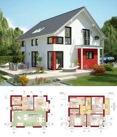 Einfamilienhaus Mit Satteldach   Haus Evolution 125 V2 Bien Zenker    Grundriss Modern Offene Küche Fassade