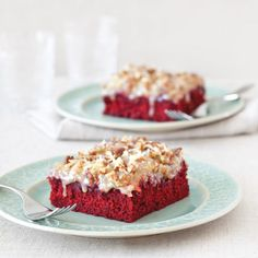 German Chocolate-Red Velvet Sheet Cake