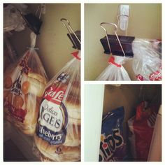 Hung some Command hooks on the side walls of the pantry and used binder clips to hang bagels and unopened bags of chips. Totally free since I had the hooks and binder clips already!