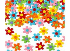 Yellow Moon Self-Adhesive Felt Flowers - Pack of 60 Add some flower power to your arts and crafts! Pretty felt flowers with self-adhesive backing to stick to cards and collage. 60 stickers per pack in 6 assorted colours. Size 3cm. http://www.comparestoreprices.co.uk/creative-toys/yellow-moon-self-adhesive-felt-flowers--pack-of-60.asp