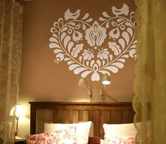 Traditional Hungarian motives over the bed. Interior And Exterior, Interior Design, Hungarian Embroidery, Glam Room, Mural Painting, Dream Bedroom, Modern Rustic, Wall Decals, Sweet Home