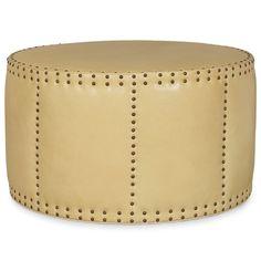"""34"""" round  $1100  Layla Grayce Union Drum Leather Large Ottoman @Layla Grayce"""
