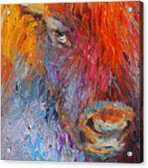 Buffalo Bison Wild Life Oil Painting Print Acrylic Print by Svetlana Novikova