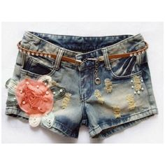 2012 new arrival Korean style summer floral ornament shorts denim slim... ❤ liked on Polyvore