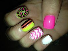 Neon chevron cheetah striped Nails