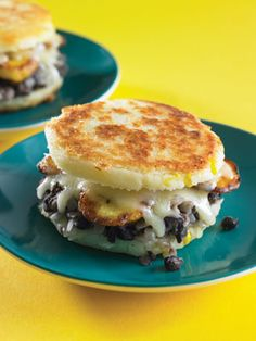 Arepas (Latin American Grilled Cheese with corn flour, plantains, monterey jack cheese, and beans)