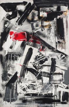 Emilio Vedova (Italian, 1919-2006), De America '77 (Slum 7), 1977. Paint, graffiti and spray on canvas, 100.3 x 65.2 cm.