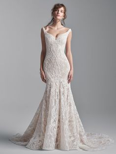 Sleeveless Beaded Lace Mermaid Wedding Dress | Kleinfeld Bridal Colored Wedding Dresses, Dream Wedding Dresses, Designer Wedding Dresses, Bridal Dresses, Wedding Gowns, Wedding Ceremony, Sottero And Midgley Wedding Dresses, Sottero Midgley, Estilo Boho Chic