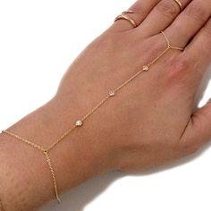 Triple Diamond Finger Bracelet