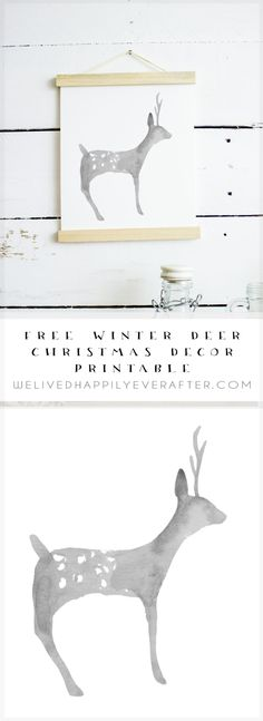 Free Watercolor Deer Perfect for Gender Neutral Nurseries. Woodland and Forest Themed Kids Room Decor. Christmas Decorations Diy For Teens, Watercolor Deer, Watercolour, Christmas Room, Christmas Nativity, Xmas, Forest Theme, Scandinavian Christmas, Christmas Printables