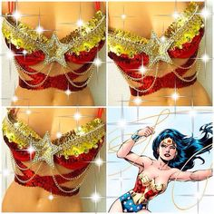 Reserved for Rachel: Wonder Woman Rave Bra by TheLoveShackk