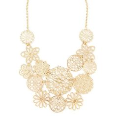 Forever 21 Floral Filigree Bib Necklace ($6.90) ❤ liked on Polyvore featuring jewelry, necklaces, bib necklace, forever 21, filigree jewelry, forever 21 jewelry and chains jewelry