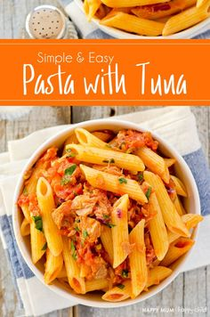 A great recipe which can be prepared from store cupboard ingredients for a super fast, easy meal. Spicy Tuna Pasta, is ready in 15 minutes and tastes great! Fish Recipes, Seafood Recipes, Pasta Recipes, Cooking Recipes, Healthy Recipes, Tinned Tuna Recipes, Tuna Dishes, Pasta Dishes, Tuna Tomato Pasta