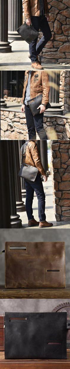 Vintage Full Grain Leather Clutch for Men Messenger Bag Handbag Small Satchel Bag 14141