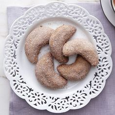 These buttery, delicate crescents from the Italian Alps are similar to cookies from Germany and Austria. In fact, this recipe is inspired by one given to my mother by a German neighbor. I've played with it over the years, dipping the cookies in cinnamon sugar instead of powdered and adding espresso powder to the dough, which gives the cookies an irresistible fragrance and subtle coffee flavor.