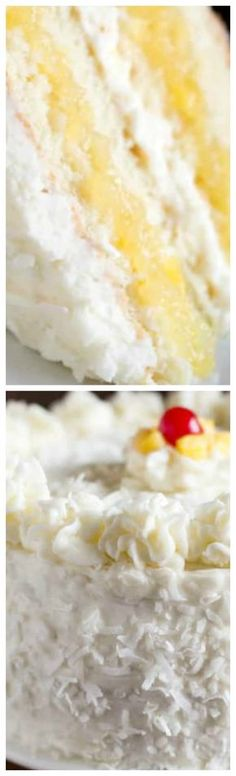Coconut Cake with Pineapple Filling ~ The most AMAZING Coconut Cake, with layers of tender, moist coconut cake, fresh pineapple filling, and whipped coconut cream cheese frosting that all pair together perfectly. by rachelpp Brownie Desserts, Oreo Dessert, Mini Desserts, Eat Dessert First, Just Desserts, Delicious Desserts, Coconut Recipes, Baking Recipes, Coconut Cakes