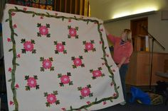 """width=""""600"""" machine made Ohio Rose Bonnie Cundiff Olson made her own pattern copying her grandmothers original"""