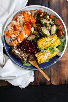 This Rawsome Vegan Life: THE VEGAN CHRISTMAS PLATE: baked yams, steamed corn and pepper garlic brussels sprouts with mushroom nut loaf, tahini ginger miso gravy and orange cranberry sauce