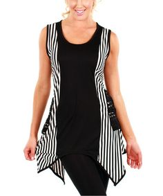 Love this Black & White Stripe Pocket Sleeveless Tunic by Lily on #zulily! #zulilyfinds  SO loving this fun style!  ~ Melody