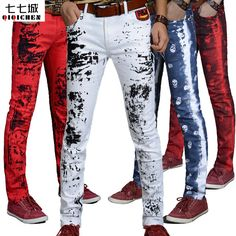 826b030db 2017 Autumn New ink Splashes Harajuku Printed Red Skull Dragon White Jeans  Pants Men Skinny Cotton Casual Hip Hop Trousers Men-in Skinny Pants from  Men s ...