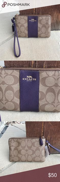Coach Leopard Print Corner Zip Wristlet Coach Leopard Print Corner Zip Wristlet   Color is Khaki & Aubergine, light brown and purple. This is NEW With Tags! Coach Bags Clutches & Wristlets
