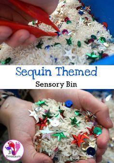 Fine Motor Sequin Themed Sensory Bin - a fun and easy sensory bin to set up for kids - 3Dinosaurs.com #sensorybin #sensoryskeeing #finemotorskills