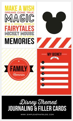 Are you a crafty scrapbooker who is going to Disney? Free Disney Themed Printable Journaling and Filler Cards {Set Disney Diy, Disney Trips, Disney Crafts, Walt Disney, Disney Cruise, Disney Land, Disney Travel, Disney Mickey, Mickey Mouse