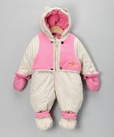 Take a look at this Cream & Pastel Pink Vest Snowsuit on zulily today!