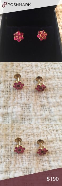 Ruby and 18K gold floral earrings A beautiful pair of ruby and gold floral earrings. Earrings are 18K gold. 1 carat 40 cents rubies. 1.7 grams gold. Back closure is a screw that works anti clockwise and goes into the main earring. Price is fixed and not eligible for bundling. I am selling these as I wear more rose gold now. Jewelry Earrings