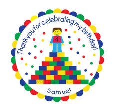 Personalized Stickers, Lego Piles, Blocks, Figure, Boy, Girl, Birthday, Kids, Party, Favors, Seals, Labels, Tags,