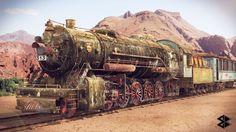 Lokomotive: entstanden in 3ds Max, VRAY. © Maximilian Blank.
