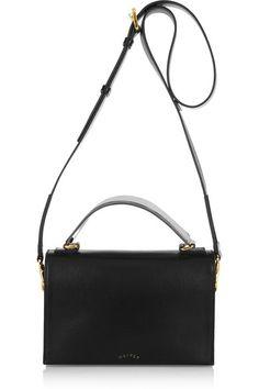Chloe Dalston Leather Shoulder Bag, Black/Beige | Chloe, Leather ...