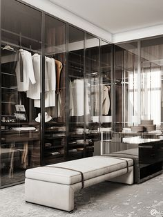 Bright apartment in St. Modern classic style with trendy furniture and lights. Wardrobe Room, Wardrobe Design Bedroom, Closet Bedroom, Shoe Closet, Dressing Room Closet, Dressing Room Design, Luxury Wardrobe, Luxury Closet, Walk In Closet Design