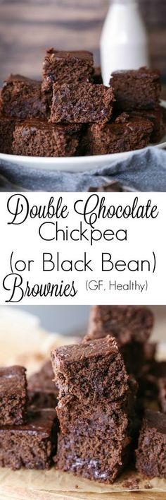 Chocolate Chickpea or Black Bean Brownies Double Chocolate Chickpea (Or Black Bean) Brownies! - a healthy flourless gluten free dessert Sugar Free Desserts, Gluten Free Desserts, Vegan Desserts, Easy Desserts, Brownie Desserts, Brownie Recipes, Paleo Brownies, Chickpea Brownies, Easy Brownies