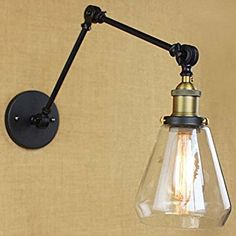 BAYCHEER HL409850 Industrial Vintage style 6'' Height Adjustable swing arm Wall Sconce wall light lamp in Matte Black with Clear Glass use E26 Bulb1 light - - Amazon.com