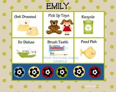 Super Cute - First Chore Chart. . . Custom Childrens Chore or Activity Chart by YourPictureFixer