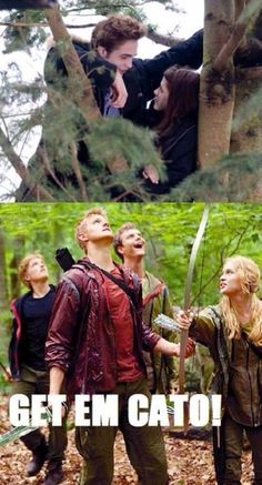 ....To be honest...although this is funny....but the fact is.....Cato stunk at shooting that bow...so....where's Katniss?