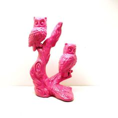 owl decor upcycled ceramic figurines // hot pink owls by nashpop