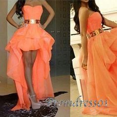 Cute high low prom dress, orange chiffon sweetheart dress for teens, prom dress…
