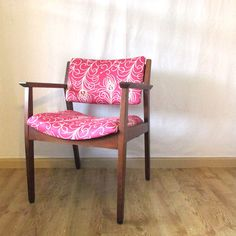 Vintage Krug Armchair in Raspberry with Peacock Feathers by Rekindle Home, $325.00