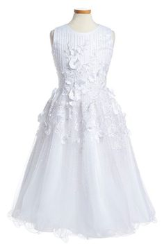 Joan Calabrese for Mon Cheri Floral Appliqué Tulle & Lace First Communion Dress (Big Girls) available at #Nordstrom